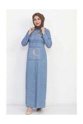 Modamihram Kadın Açık Mavi Yazı Nakışlı Tesettür Elbise 1