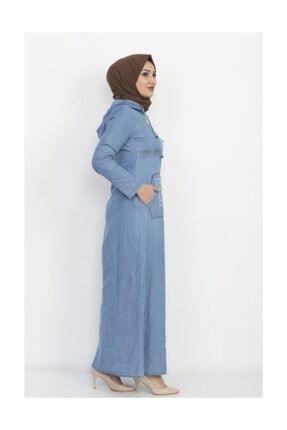 Modamihram Kadın Açık Mavi Yazı Nakışlı Tesettür Elbise 2