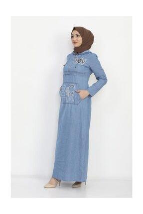 Modamihram Kadın Açık Mavi Yazı Nakışlı Tesettür Elbise 3