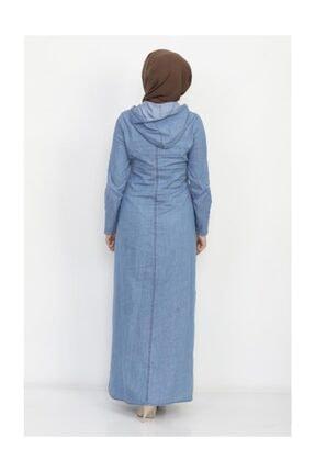 Modamihram Kadın Açık Mavi Yazı Nakışlı Tesettür Elbise 4