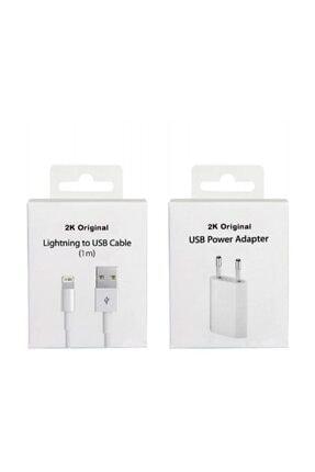 2K Original Apple Iphone Uyumlu Şarj Cihazı Ve Kablo Set 0