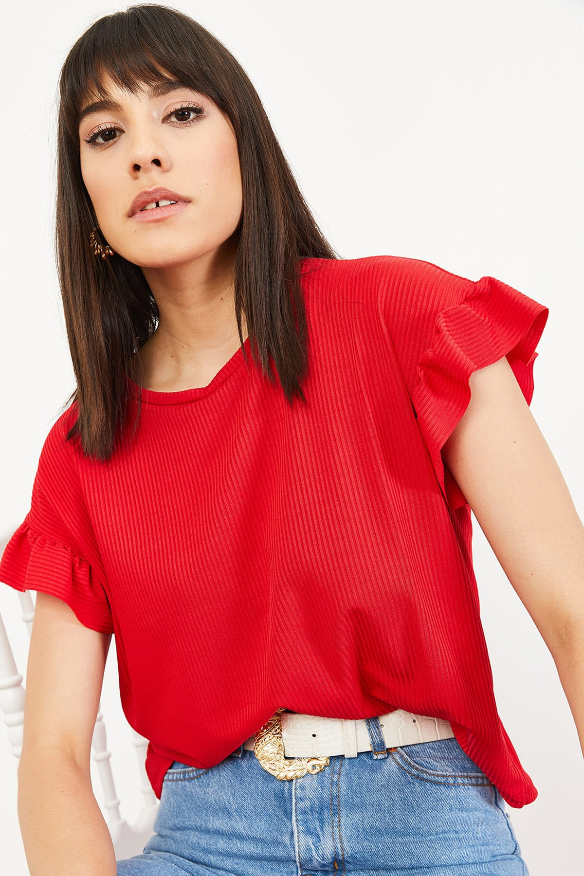 Bianco Lucci Kadın Kırmızı Kolu Fırfırlı Kaşkorse Bluz 10051015 3