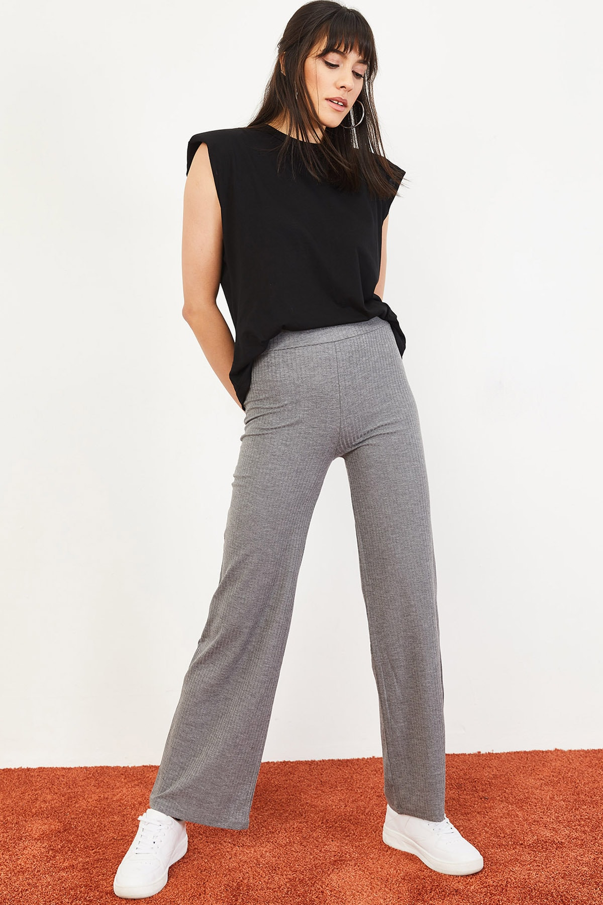 Bianco Lucci Kadın Gri İspanyol Paça Beli Lastikli Rahat Pantolon 10051020 3