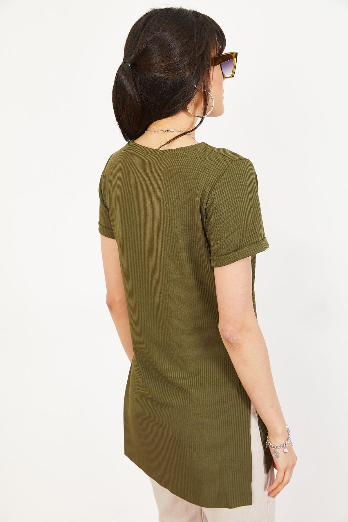Bianco Lucci Kadın Yeşil Kol Yan Yırtmaçlı Kol Detay Kaşkorse T-Shirt 10051012 3