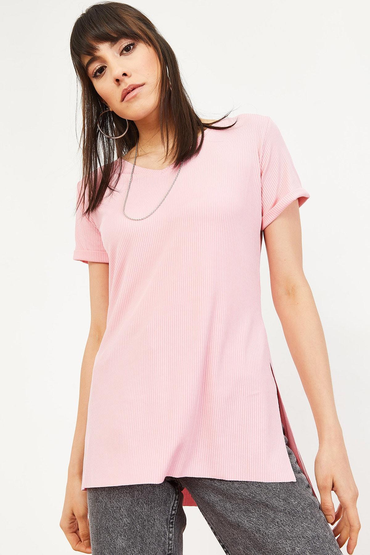 Bianco Lucci Kadın Pudra Kol Yan Yırtmaçlı Kol Detay Kaşkorse T-Shirt 10051012 4