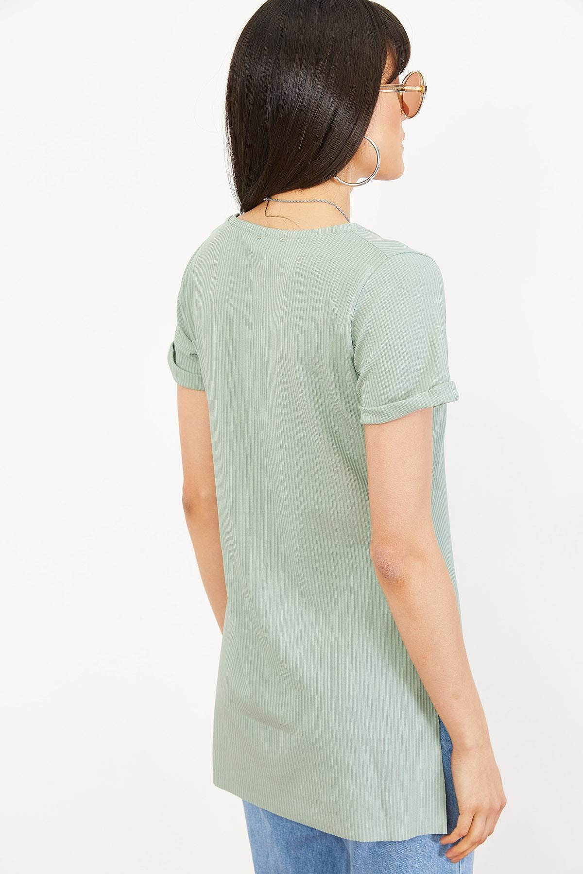 Bianco Lucci Kadın Mint Yeşili Kol Yan Yırtmaçlı Kol Detay Kaşkorse T-Shirt 10051012 1