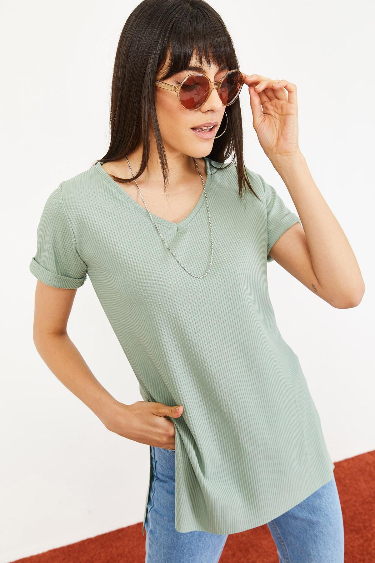 Bianco Lucci Kadın Mint Yeşili Kol Yan Yırtmaçlı Kol Detay Kaşkorse T-Shirt 10051012 3