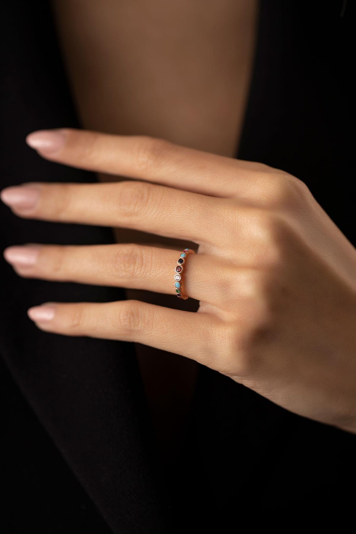 İzla Design Kadın Sıralı Mix Taşlı Rose Kaplama Gümüş İtalyan Yüzük PKT-TLYSLVR0956 0