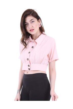 Bigdart Kadın Pudra Gömlek Yaka Düğmeli Bluz 3680bgd19_012 1