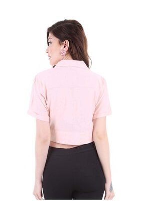 Bigdart Kadın Pudra Gömlek Yaka Düğmeli Bluz 3680bgd19_012 2
