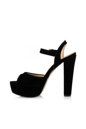 sothe shoes Siyah Süet Bayan Platform Kalın Topuklu Kadın Ayakkabı 2