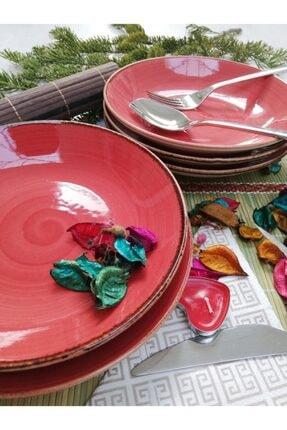 Tulü Porselen El Dekoru Trend Kırmızı Yemek Tabağı Takımı 0