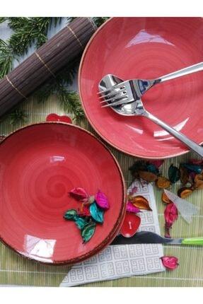 Tulü Porselen El Dekoru Trend Kırmızı Yemek Tabağı Takımı 2
