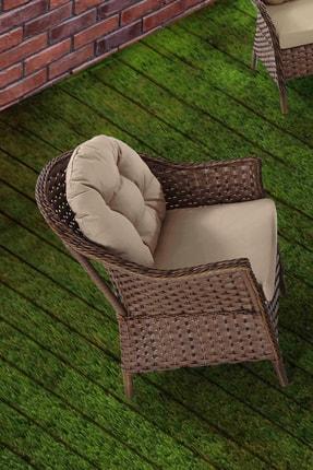 Vieno Home Garden Rona Örgü Rattan Bahçe Balkon Üçlü Koltuk Masa 4 Parça Keyif Seti 1