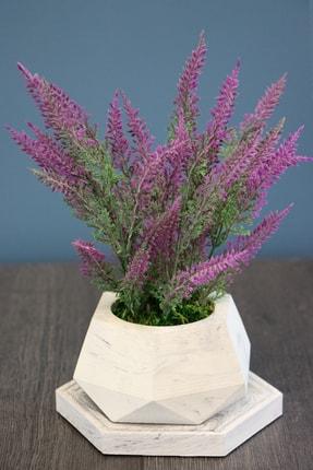 Yapay Çiçek Deposu Beton Saksıda Altlıklı Pudralı Lavanta Seti 0