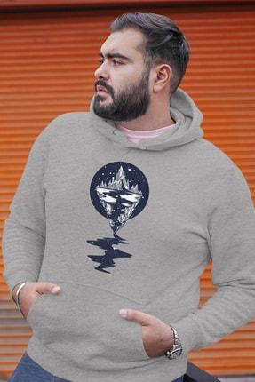 Angemiel Wear Dağ Nehir Motifleri Gri Erkek Kapüşonlu Sweatshirt 0