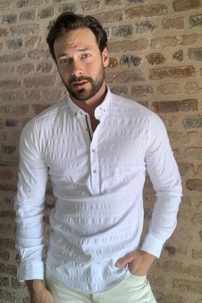 TRENDYOL MAN Beyaz Erkek Yarım Patlı Düğmeli  Gömlek TMNSS20GO0113 0