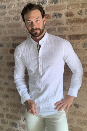 TRENDYOL MAN Beyaz Erkek Yarım Patlı Düğmeli  Gömlek TMNSS20GO0113 3