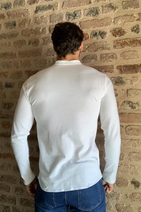 TRENDYOL MAN Beyaz Erkek Hakim Yaka Pike Örme Uzun kollu Gömlek TMNSS20GO0293 3