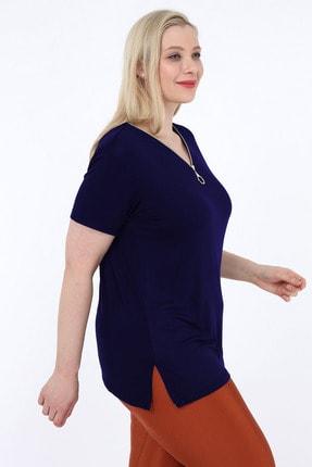 Heves Giyim Kadın Lacivert Büyük Beden Fermuarlı Tişört 2