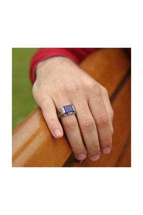 Tesbihane Erzurum El Işi Mavi Mineli Gümüş Yüzük 2