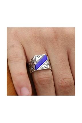 Tesbihane Erzurum El Işi Mavi Mineli Gümüş Yüzük 1
