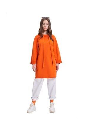 Mizalle Youth Mızalle Youth Yaka Bağcıklı Sweatshirt (turuncu) 3