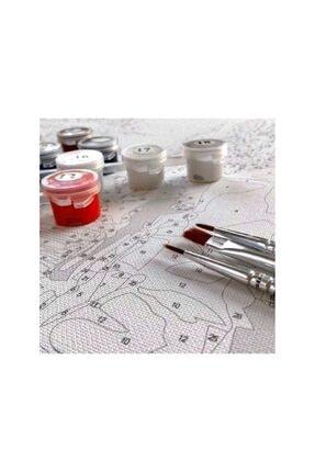 """Talehobby Sayılarla Boyama Hobi Seti """"boyalar Ve Fırçalar Dahil Çerçeveli 40x50cm 4"""