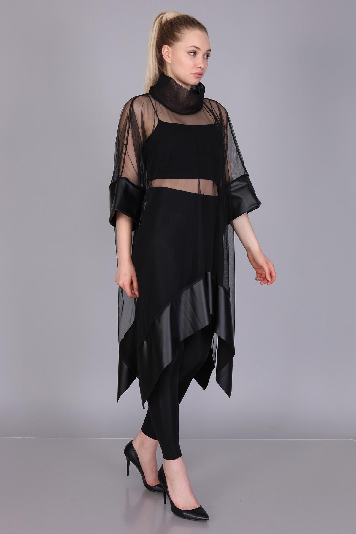 Mi&So Kadın Siyah Tül Derili Bluz M&S5101Pnç 1