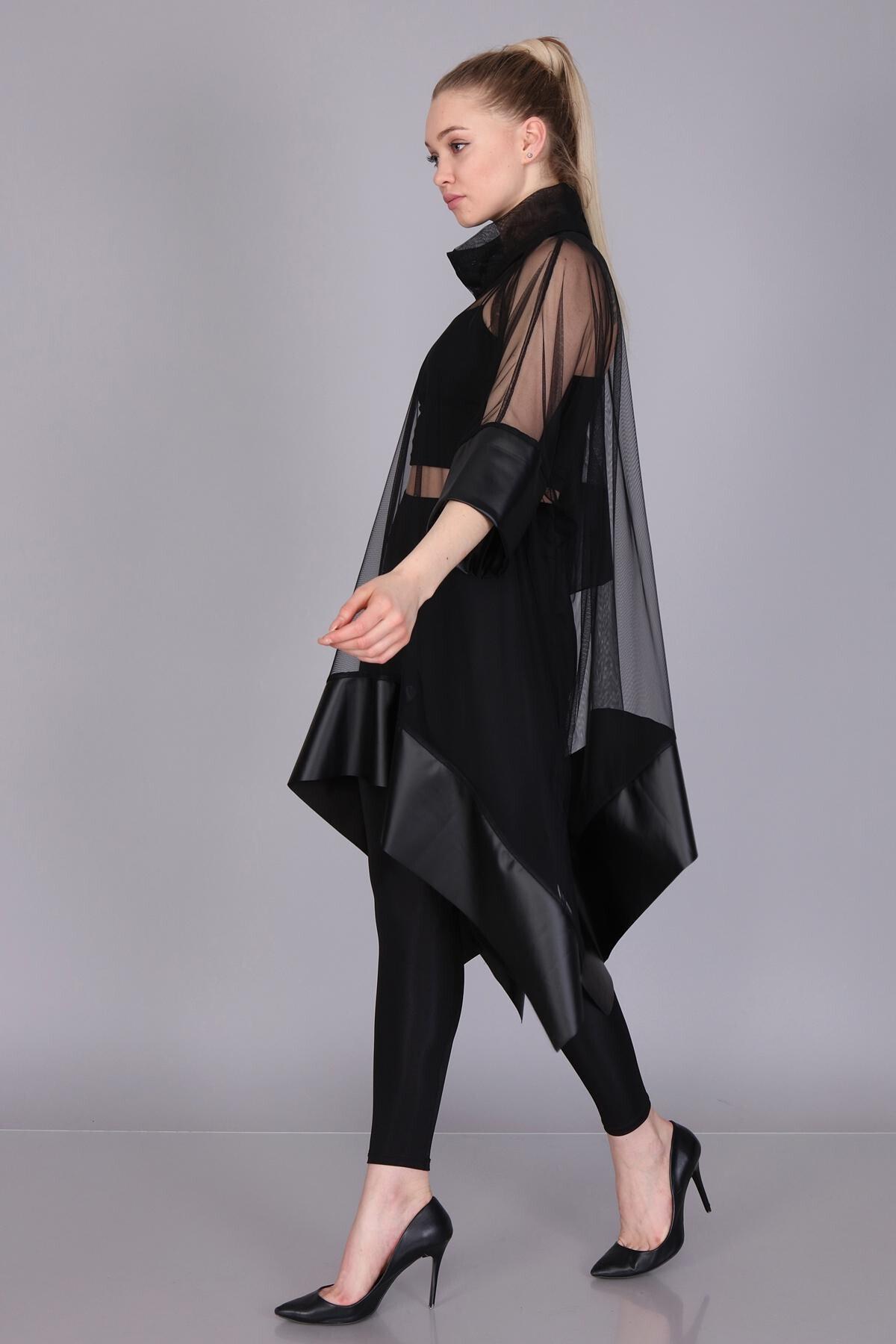 Mi&So Kadın Siyah Tül Derili Bluz M&S5101Pnç 3