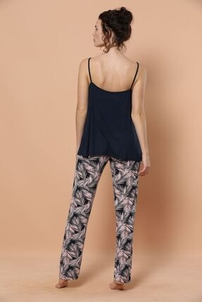 Siyah İnci Ip Askılı Viskon Pijama Takım 3