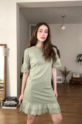 TRENDYOLMİLLA Mint Dantelli Ve Volanlı Örme Elbise TWOSS20EL3112 0