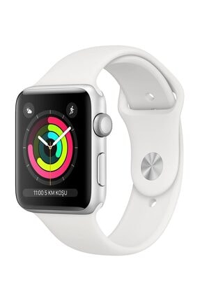 Apple Watch Seri 3 GPS 42 mm Gümüş Rengi Alüminyum Kasa ve Beyaz Spor Kordon - MTF22TU/A 0