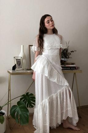 TRENDYOLMİLLA Ekru Aplike Detaylı Abiye & Mezuniyet Elbisesi TPRSS20AE0114 3