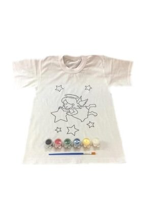 Joy and Toys 4-5 Yaş Tişört Boyama Seti+kumaş Boyama+melek Kız Desenli 0