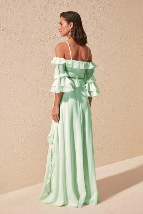 TRENDYOLMİLLA Mint Kol Detaylı Volanlı Şifon Abiye & Mezuniyet Elbisesi TPRSS19FZ0278 2