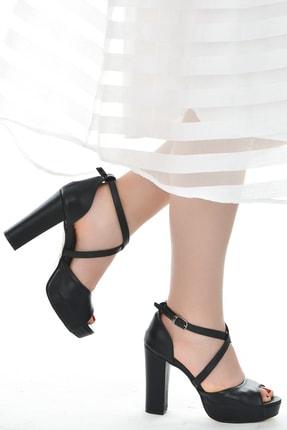 Ayakland Cilt Abiye 11 Cm Platform Topuk Kadın Sandalet Ayakkabı 3210-2058 1