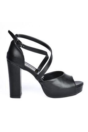Ayakland Cilt Abiye 11 Cm Platform Topuk Kadın Sandalet Ayakkabı 3210-2058 2