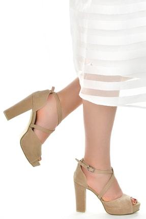 Ayakland Süet Abiye 11 Cm Platform Topuk Kadın Sandalet Ayakkabı 3210-2058 1