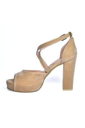 Ayakland Süet Abiye 11 Cm Platform Topuk Kadın Sandalet Ayakkabı 3210-2058 3
