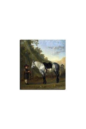 TABLO KANVAS Abraham Van Calraet A Boy Holding A Grey Horse Kanvas Tablo 1