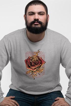 Angemiel Wear Kırmızı Gül Gri Erkek Sweatshirt 0