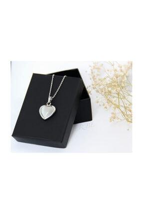 ERBE Paslanmaz Çelik Kalp Gri Taşlı Gümüş Rengi Kolye 1