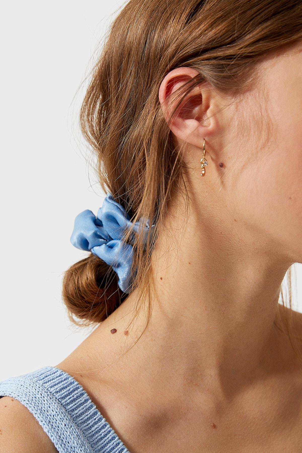 Stradivarius Kadın Açık Mavi 3'Lü Çiçek Desenli Saç Lastiği Paketi 00239009 3