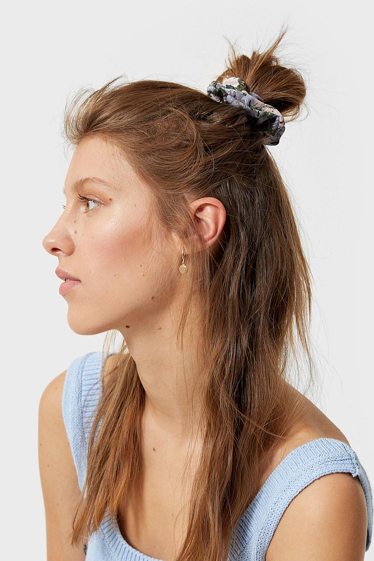 Stradivarius Kadın Açık Mavi 3'Lü Çiçek Desenli Saç Lastiği Paketi 00239009 4