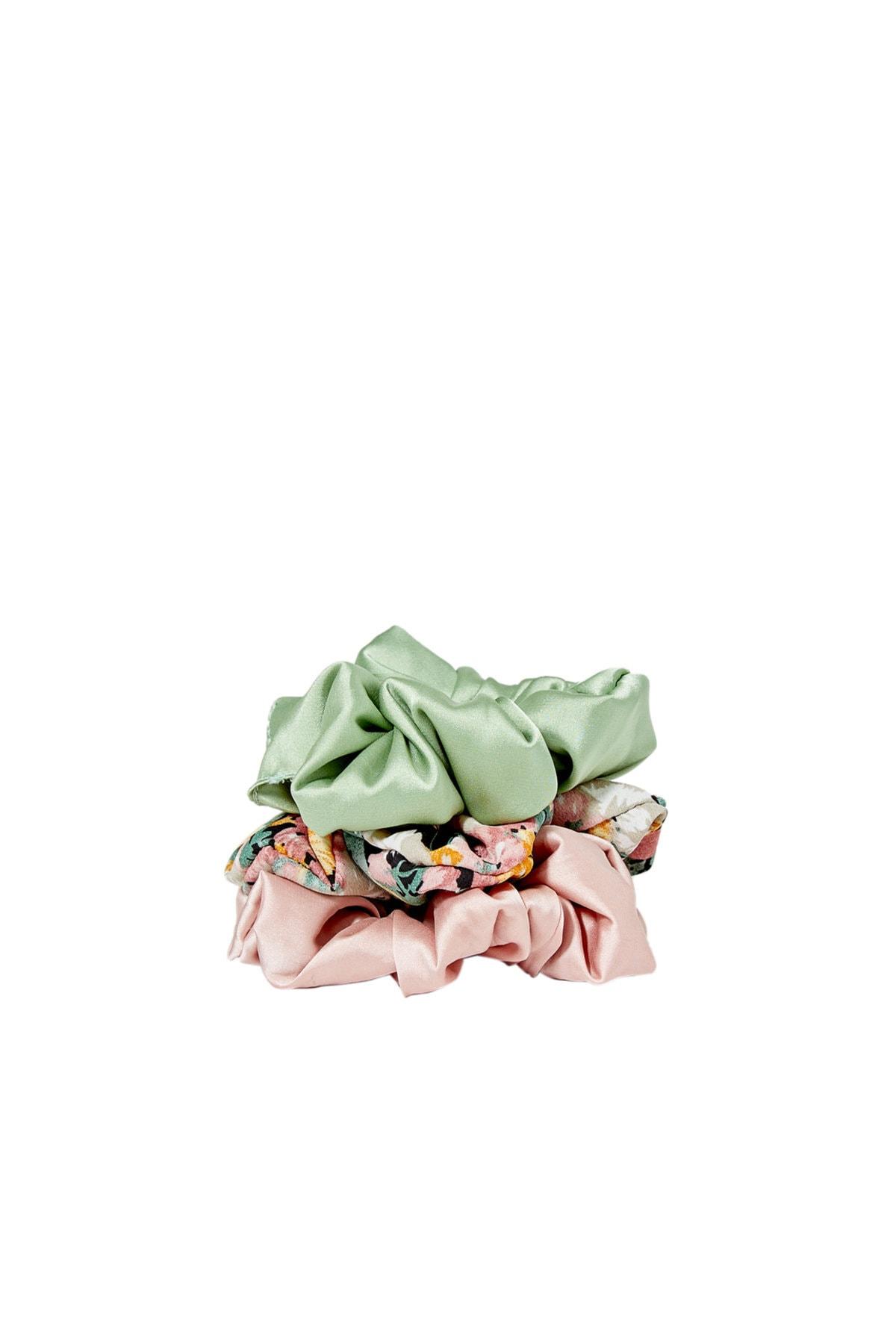 Stradivarius Kadın Yeşil 3'Lü Çiçek Desenli Saç Lastiği Paketi 00239009 0