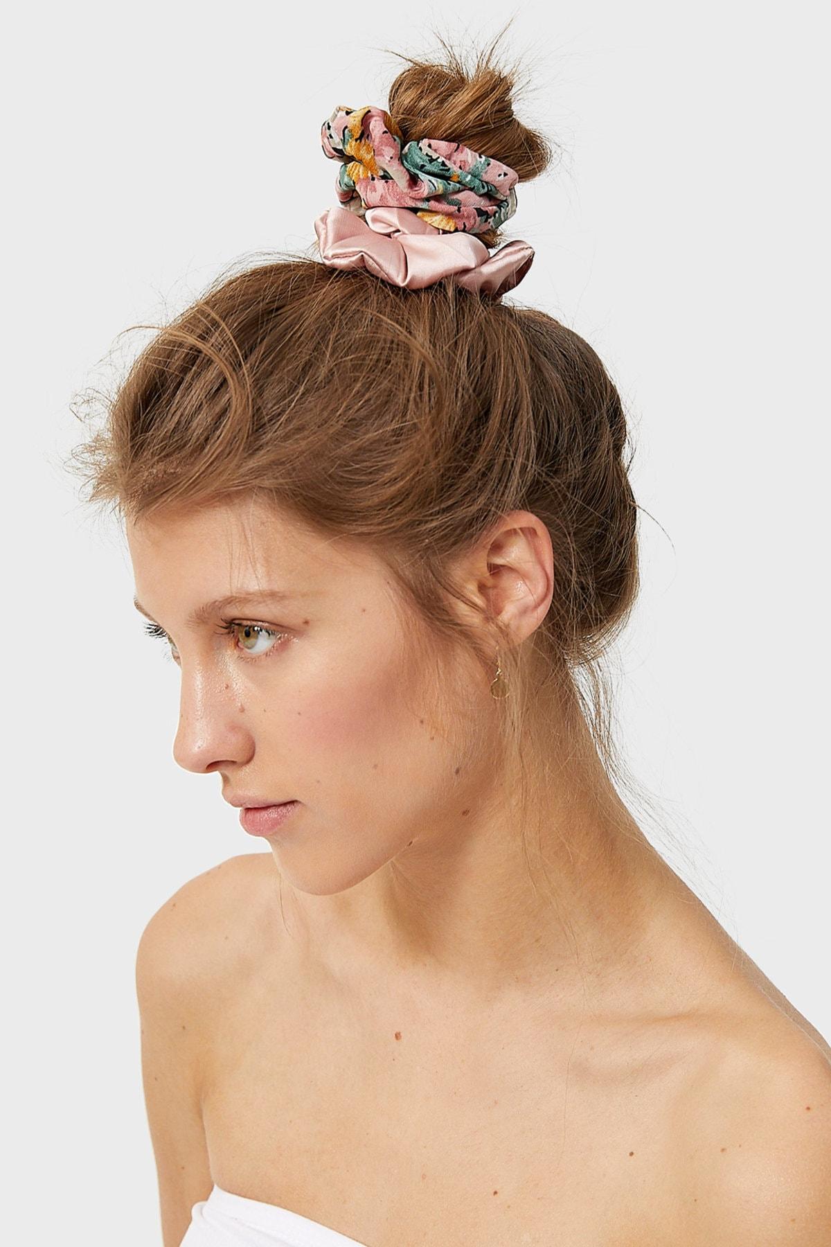 Stradivarius Kadın Yeşil 3'Lü Çiçek Desenli Saç Lastiği Paketi 00239009 1