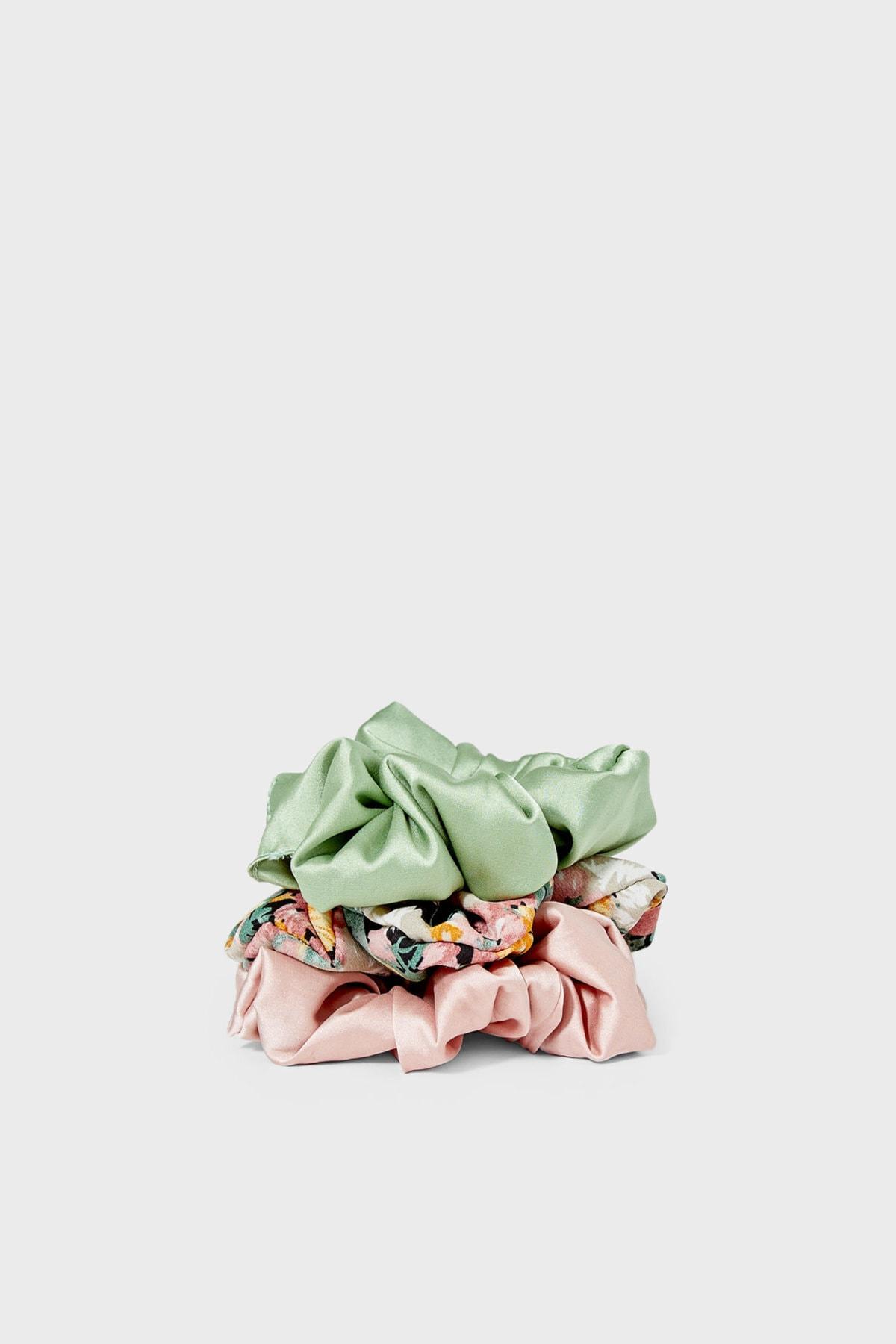 Stradivarius Kadın Yeşil 3'Lü Çiçek Desenli Saç Lastiği Paketi 00239009 3