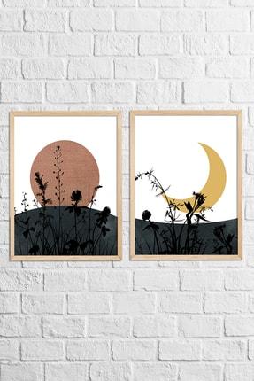 Vetro Design Güneş ve Ay Çerçeveli Tablo Set (40x50 cm) 1