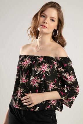 Y-London Kadın Siyah Çiçek Baskılı Straplez Bluz Y20S102-11169 0